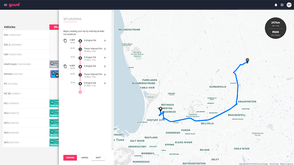 guud route planning screenshot
